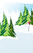 Snowman in a snow covered pine forest — Vector de stock