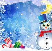 Snowman in blue hat — Stock Vector