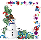 Snowman with a bucket on his head — Stock Vector
