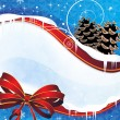 Sparkling Christmas background with pine cones and a red bow — 图库矢量图片