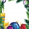 Christmas frame with decorations — Vector de stock #18009599