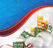 Julgranskulor, stearinljus och tall trädgrenar. — Stockvektor