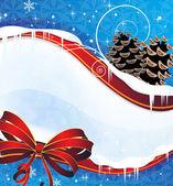 Jiskřivé vánoční pozadí s šišky a červenou mašli — Stock vektor