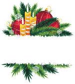Juldekorationer och tall trädgrenar. — Stockvektor