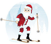Santa Claus on skis — Stock Vector