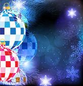 Рождественская елка шарики на фоне голубой зима — Cтоковый вектор