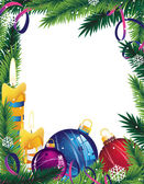 Christmas frame with decorations — Vector de stock