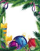Marco de navidad con adornos — Vector de stock