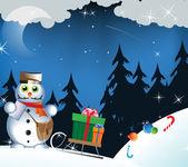 Snowman - postman — Stock Vector