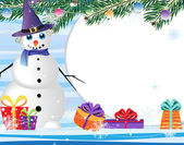 Snowman and gifts. — Vector de stock