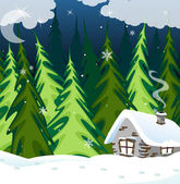 Old brick house in the winter wood — Stock Vector