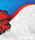Gratulationskort med röd rosett och bandet — Stockvektor