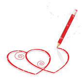 Hearts Drawn by pencil — Stock Vector