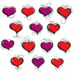 Hand drawn hearts set — Stock Vector