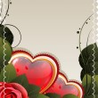 Royalty-Free Stock Vector Image: Valentines card with rose and hearts