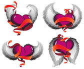 Valentine hearts with wings and ribbons — Stock Vector