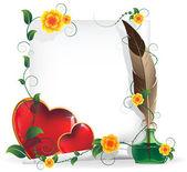 Coeurs de la saint-valentin et feuille de papier — Vecteur
