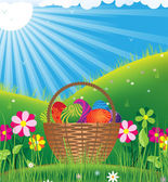 Basket with eggs under the spring sun — Stock Vector