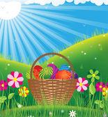 Basket with eggs under the spring sun — Stockvektor