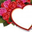 Valentine heart and rose bouquet — Vector de stock #19848933