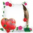 Royalty-Free Stock Vectorielle: Valentines hearts, roses and  paper