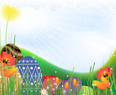 Multi-colored eggs on a spring meadow — Stock Vector