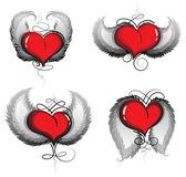 Valentin-herz mit flügeln und vintage muster — Stockvektor