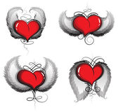 Valentine srdce s křídly a vintage vzor — Stock vektor