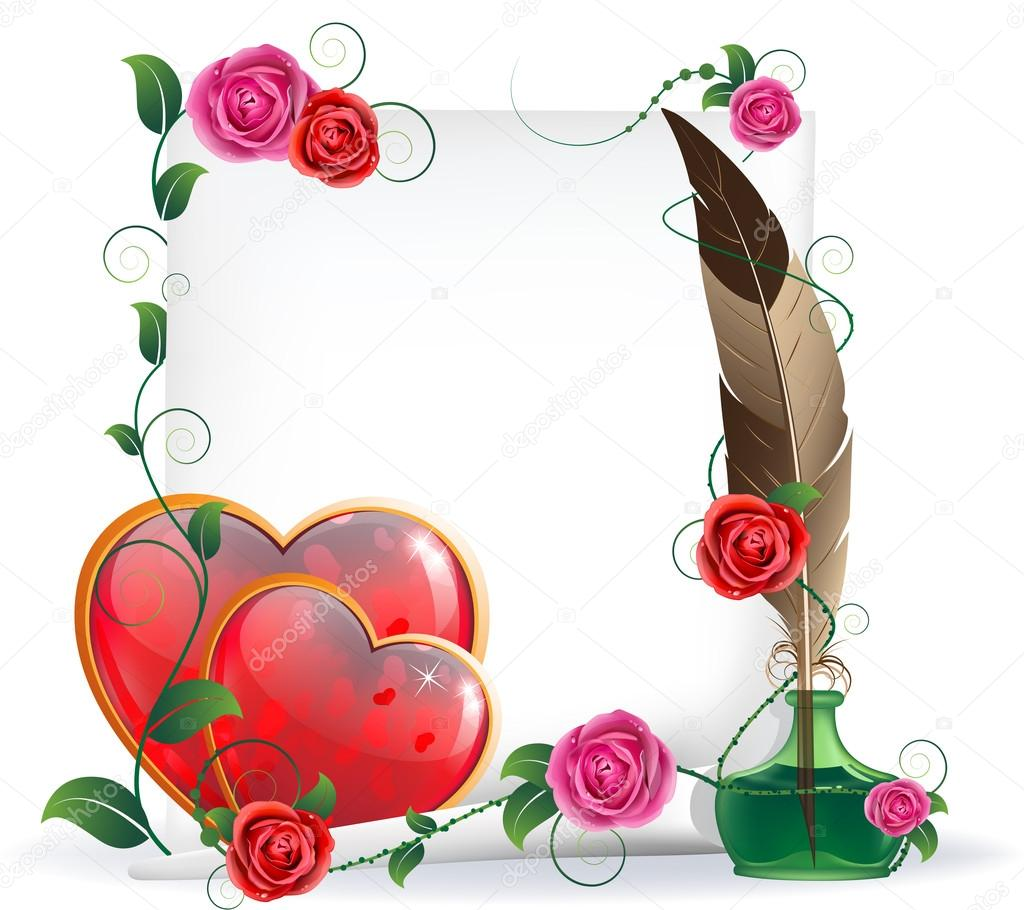 Shining hearts with floral pattern, parchment, inkwell and feather. Valentines Day card. — Stock Vector #19849765