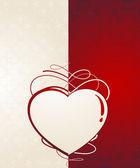 Hart silhouette.vintage valentine kaart — Stockvector