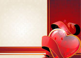 Valentine heart and ribbon — Stock Vector