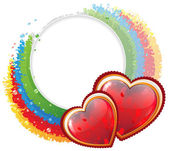 Hearts and rainbow — Stock Vector