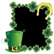 Green hat and a horseshoe. St. Patrick's Day card. — Stock Vector