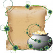 Stock Vector: Pot with gold and manuscript