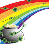 Rainbow and pot with gold — Stock Vector