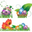 Egg, tulip, basket, grass isolated on white — Stock Vector
