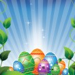 Easter eggs on a green meadow - Stock Vector
