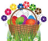 Eier im korb — Stockvektor