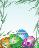 Green branches and bright Easter Eggs — Stock Vector