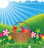 Cesta com ovos sob o sol de primavera — Vetor de Stock