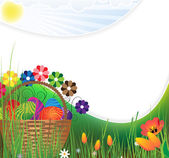 Easter basket on a green meadow — Stock Vector