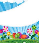 Paskalya yumurtaları çiçekli çayır üzerinde — Stok Vektör