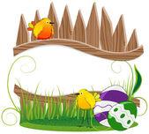 Divertenti uccelli e uova di pasqua — Vettoriale Stock