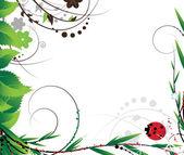 Green foliage and ladybug — Stock Vector