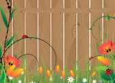 Wooden fence and flowers — Stock Vector