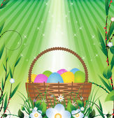 Easter basket and Sunlight — Stock Vector