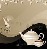 Teapot and cup on the background of the desert — Stock Vector