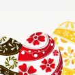Red, yellow and brown Easter eggs - Stock Vector