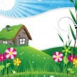 Royalty-Free Stock Векторное изображение: House in a meadow