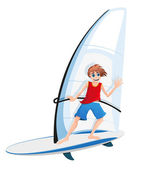 Boy on a sail board — Stock Vector